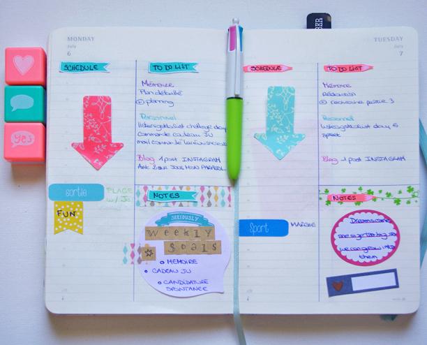 Mon organisation dans mon agenda moleskine