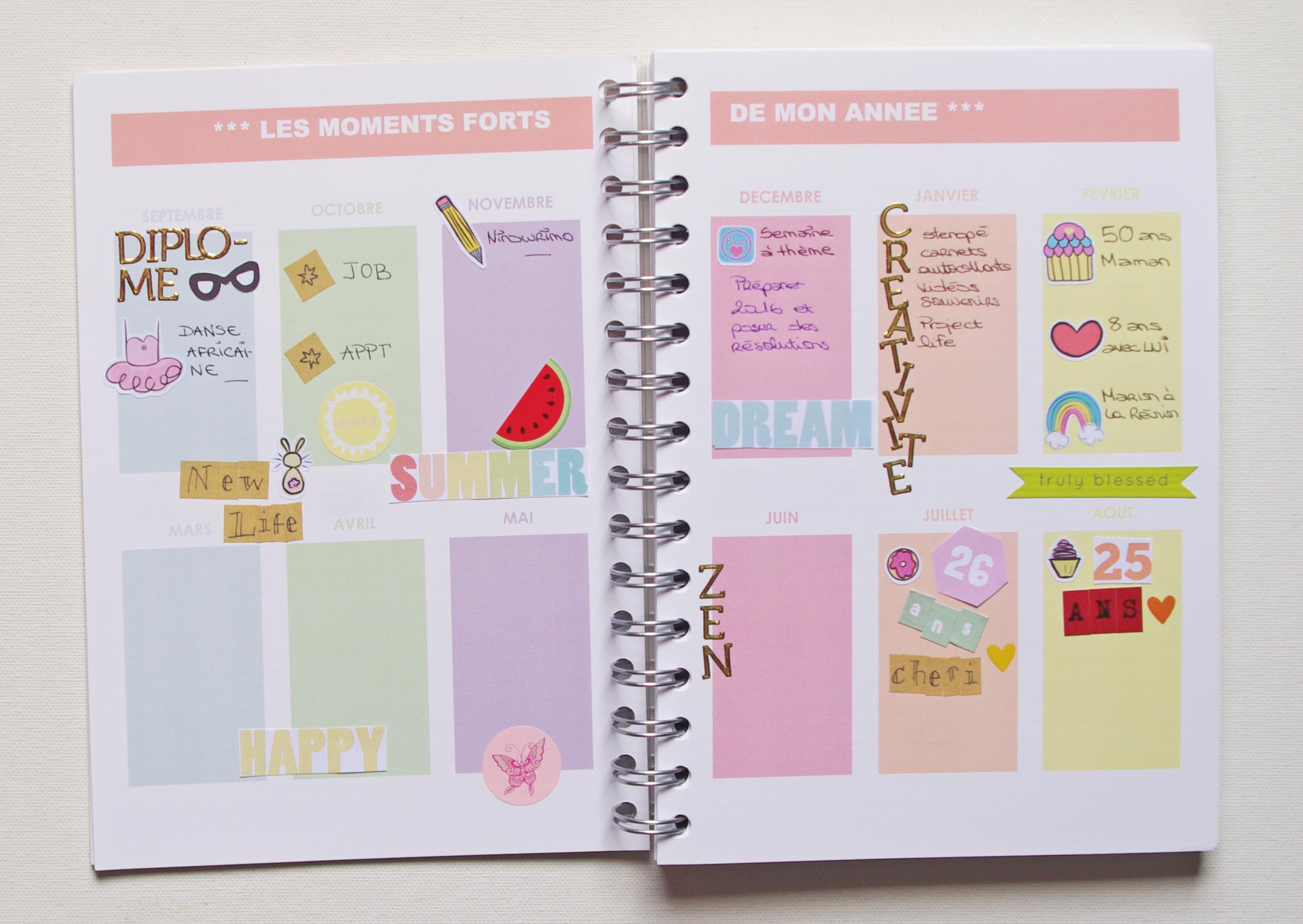 Mon organisation dans mon agenda maison sous mon parasol - Organisation maison planning ...